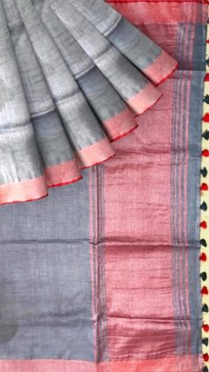 Dark Gray & Red Linen With Stripes Saree-yespoho