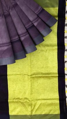 Navy Blue & Light Green Linen With   Stripes Saree-yespoho