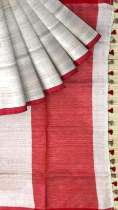 Red & Gray Plain Linen With Stripes Saree-yespoho