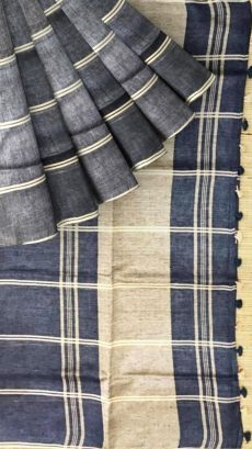 Navy  Blue &  Brown Stripes Linen Saree-yespoho